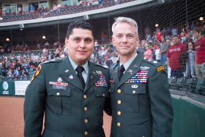 Russell, with war hero Major Ed Pulido